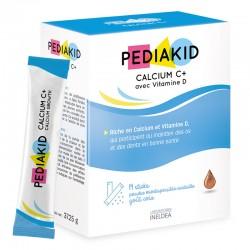 PEDIAKID НАТУРАЛЬНИЙ КАЛЬЦІЙ С+ / CALCIUM C+ - для укріплення кісток та зубів, 14 пакетиків-стіків