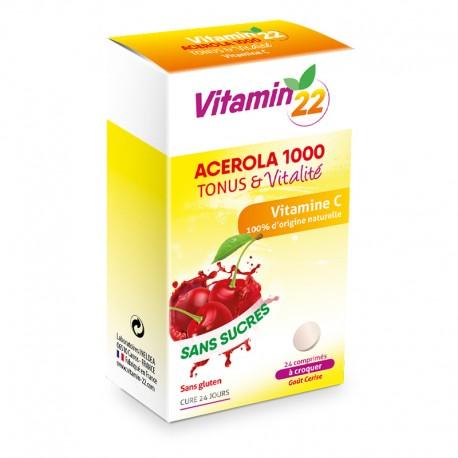 Витамин'22 АЦЕРОЛА 1000 Витамин С натуральный / Vitamin'22 ACEROLA 1000, 24 таблетки